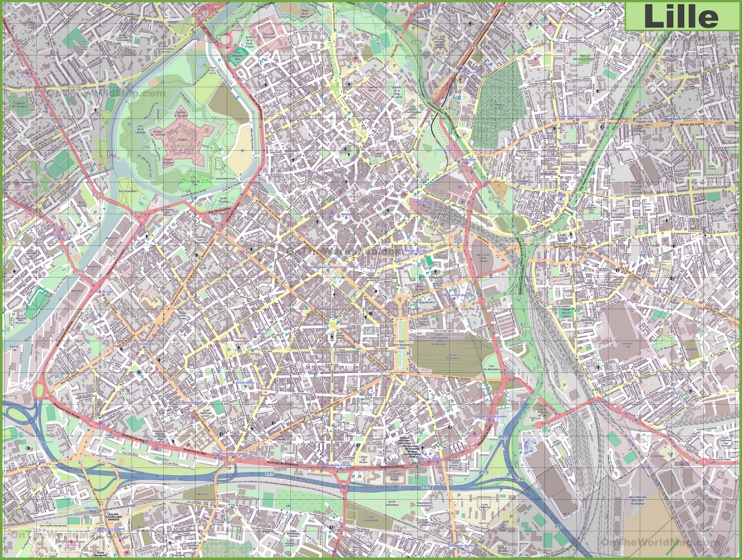 Large detailed map of Lille