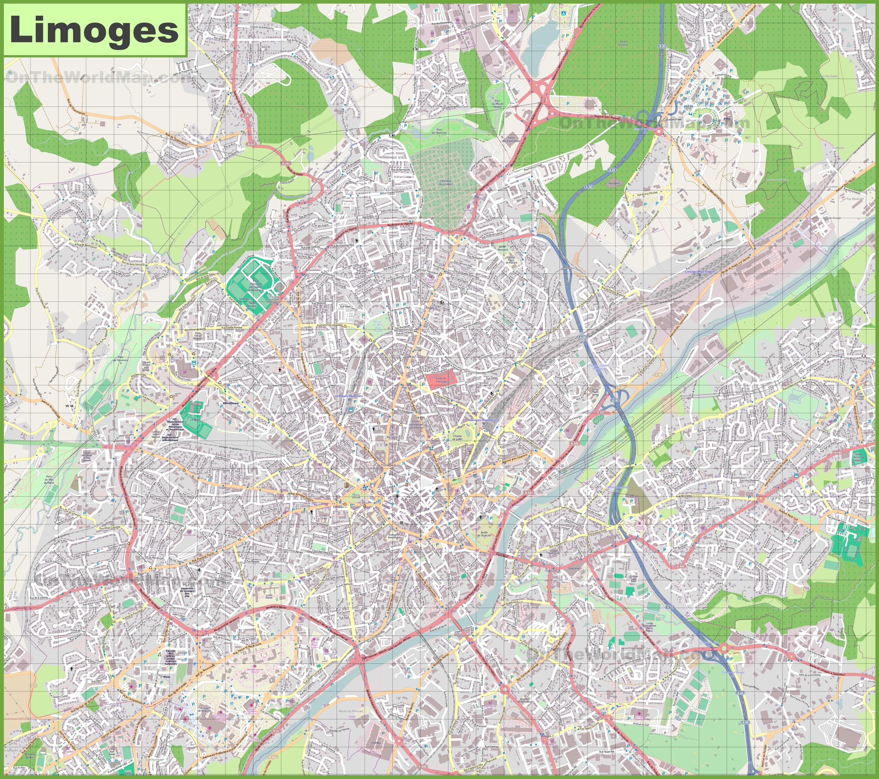Limoges France Map.Large Detailed Map Of Limoges