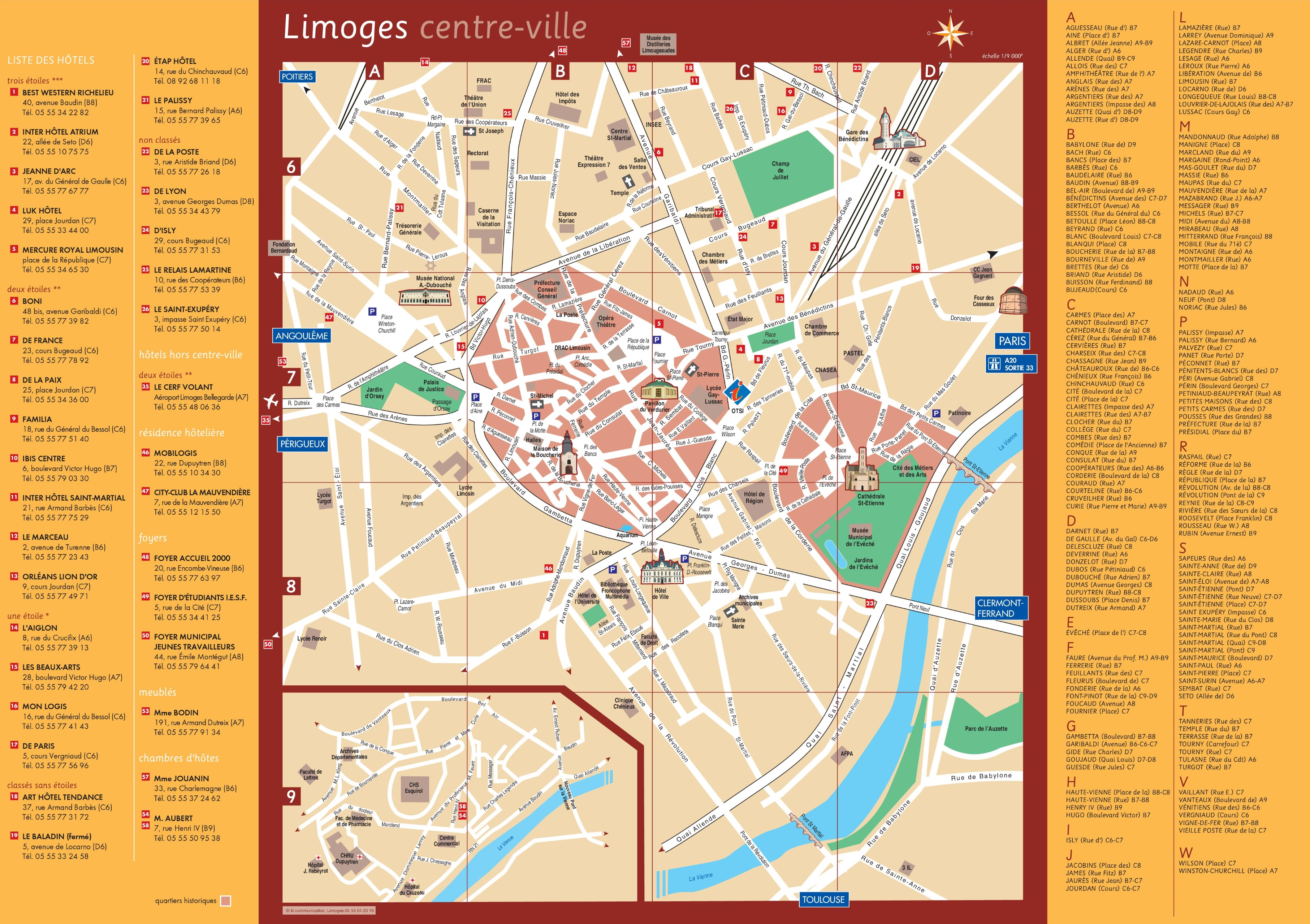 Limoges France Map.Limoges Hotels And Sightseeings Map