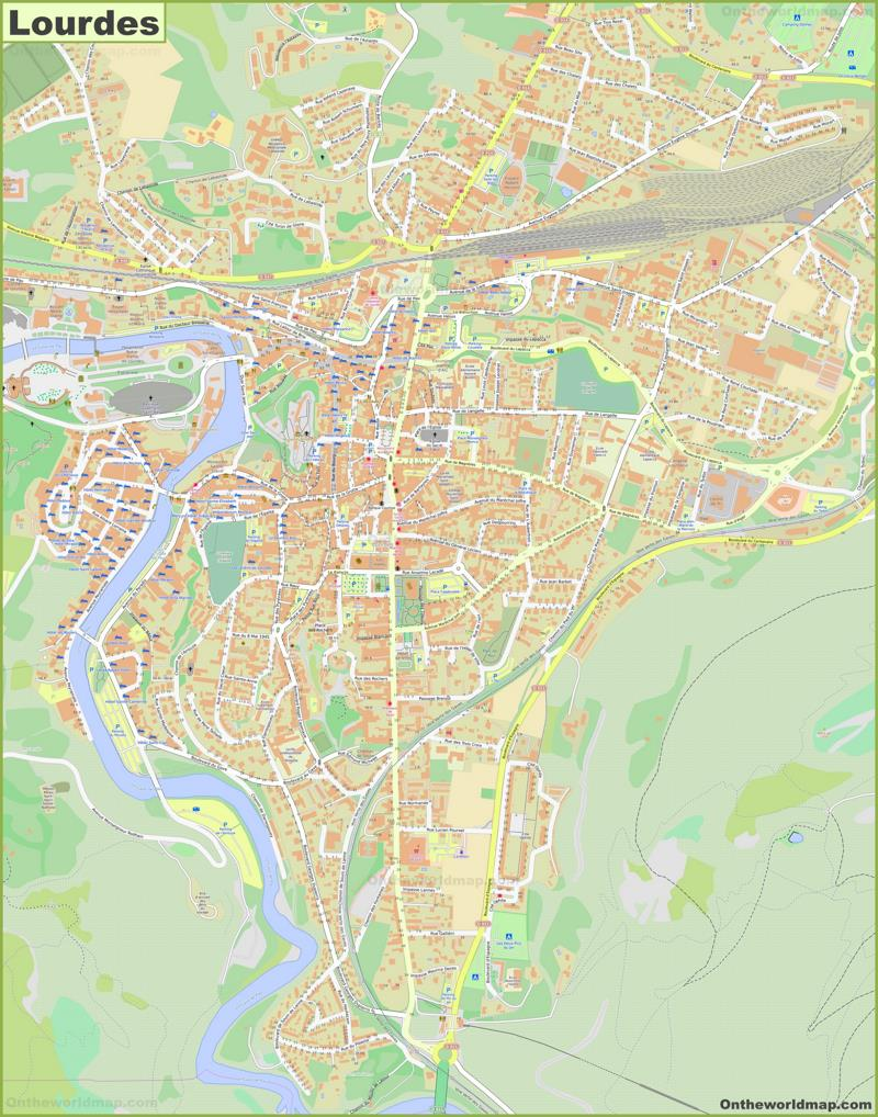 Detailed Map of Lourdes