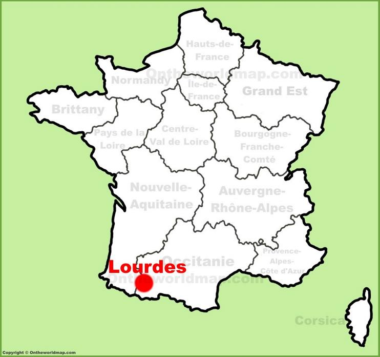 Lourdes location on the France map