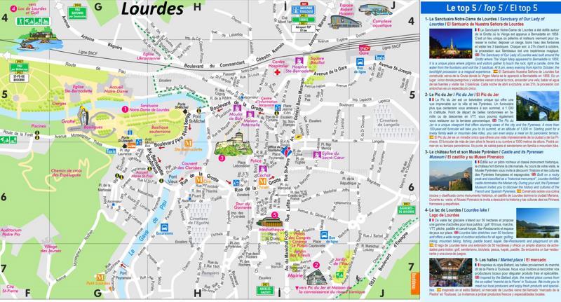 Lourdes Tourist Attractions Map