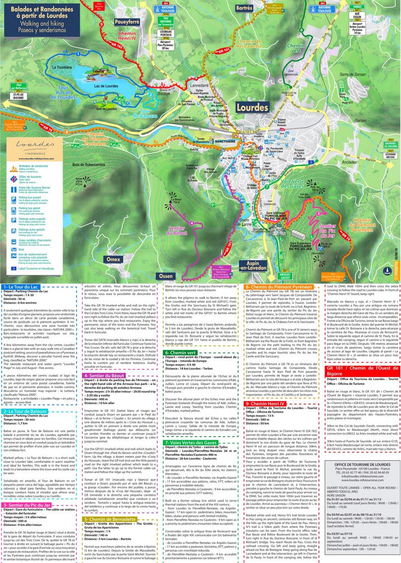 Lourdes Walking And Hiking Map