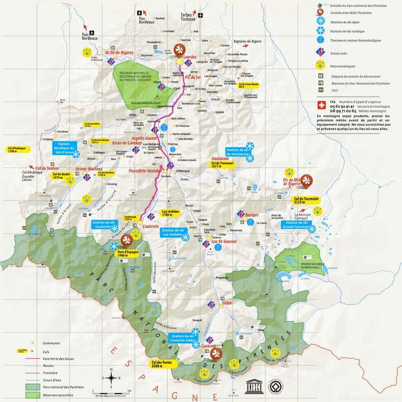 Tourist Map of Surroundings of Lourdes