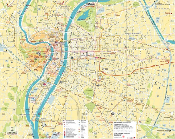 Large detailed map of Lyon
