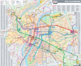 Large detailed transport map of Lyon