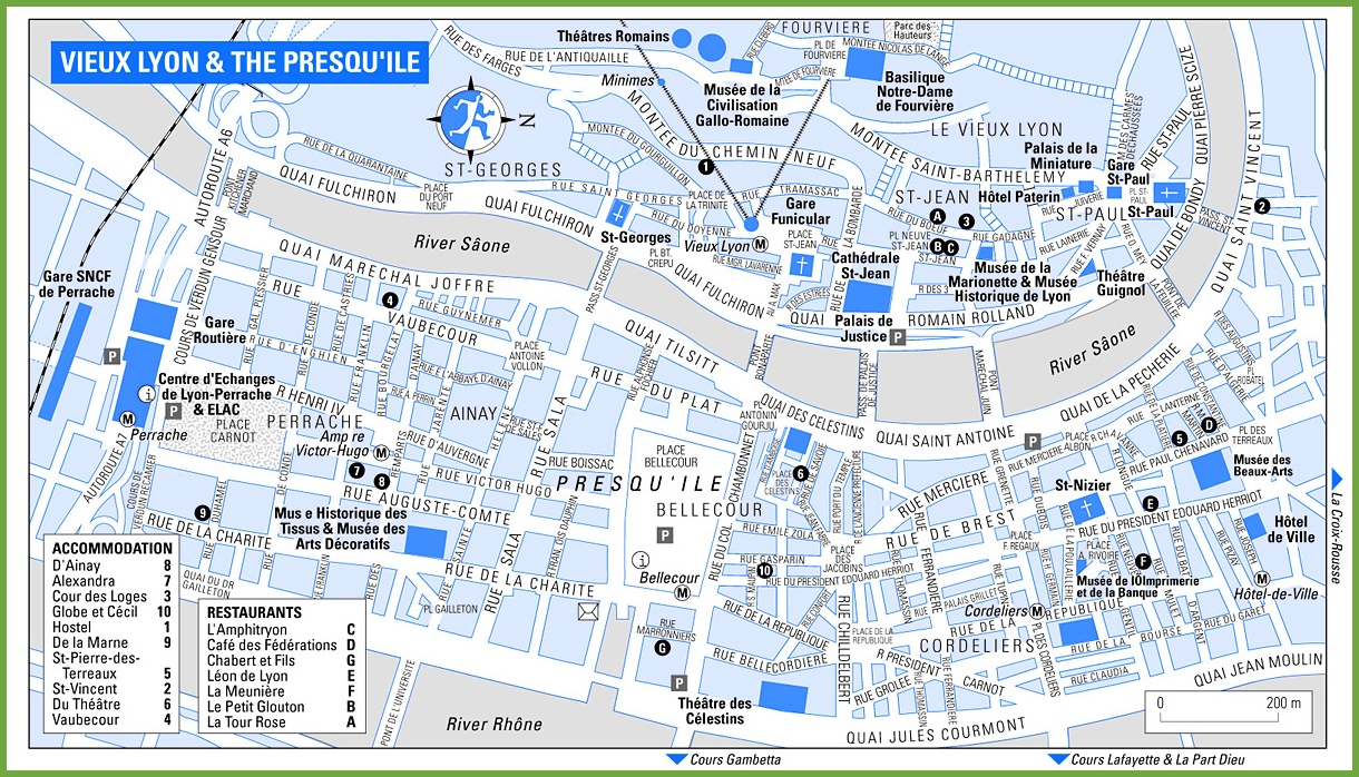 Lyon city centre map