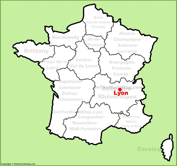 Lyon location on the France map