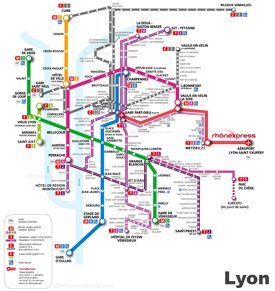 Lyon metro, tramway and trolleybus map