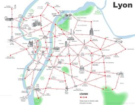 Lyon walking map