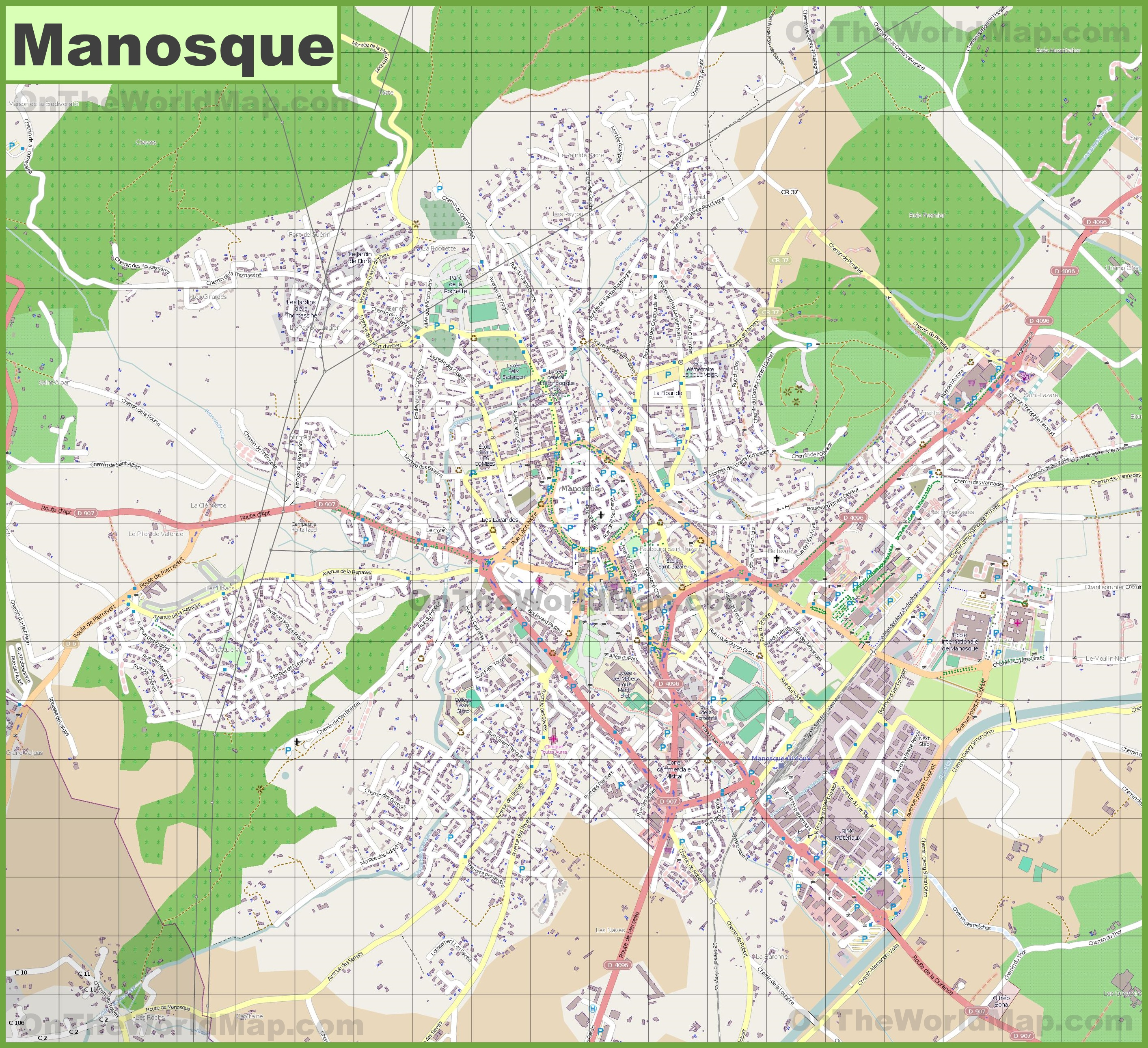 Large detailed map of Manosque