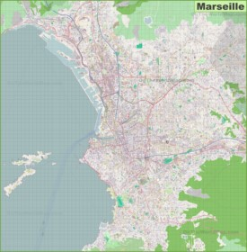 Large detailed map of Marseille