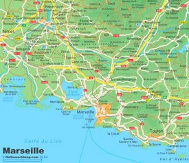 Map of surroundings of Marseille