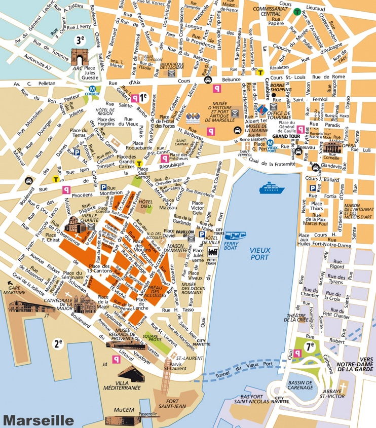 Marseille city center map