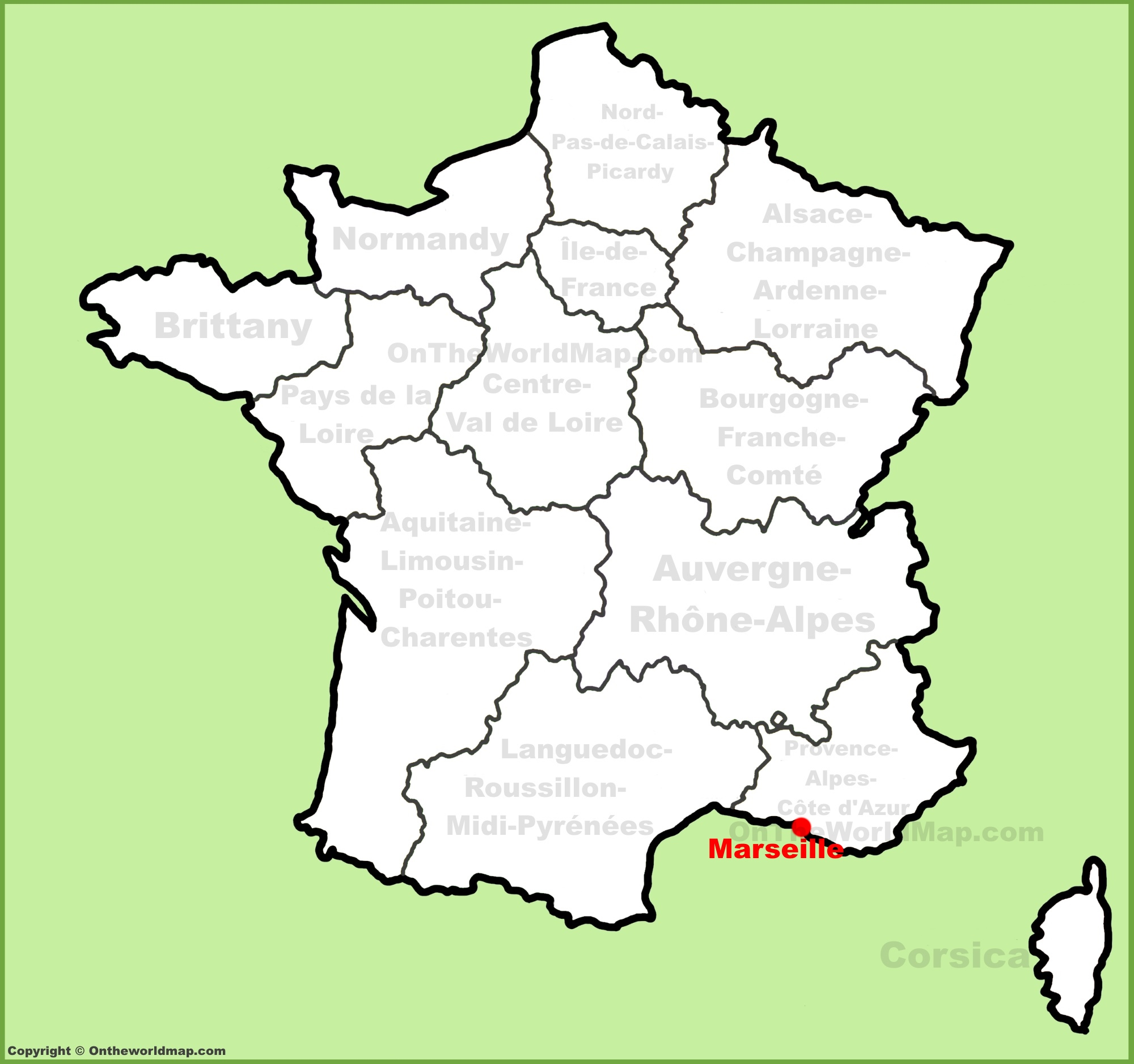 Political Outline Map Of France.Marseille Location On The France Map
