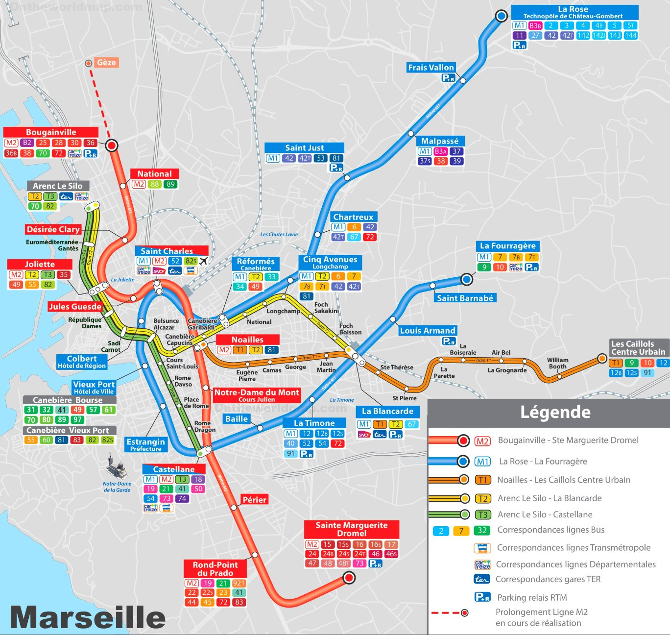 Marseille metro and tram map