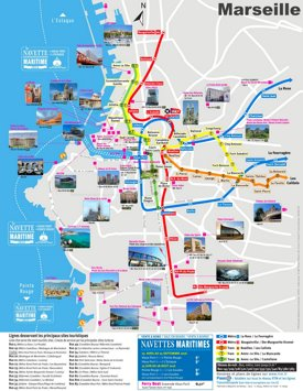 Marseille metro map with main tourist attractions