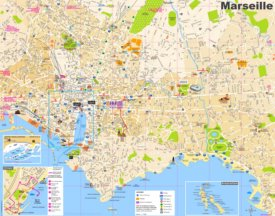 Tourist map of Marseille with sightseeings