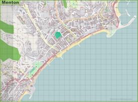 Large detailed map of Menton