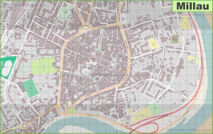 Large detailed map of Millau