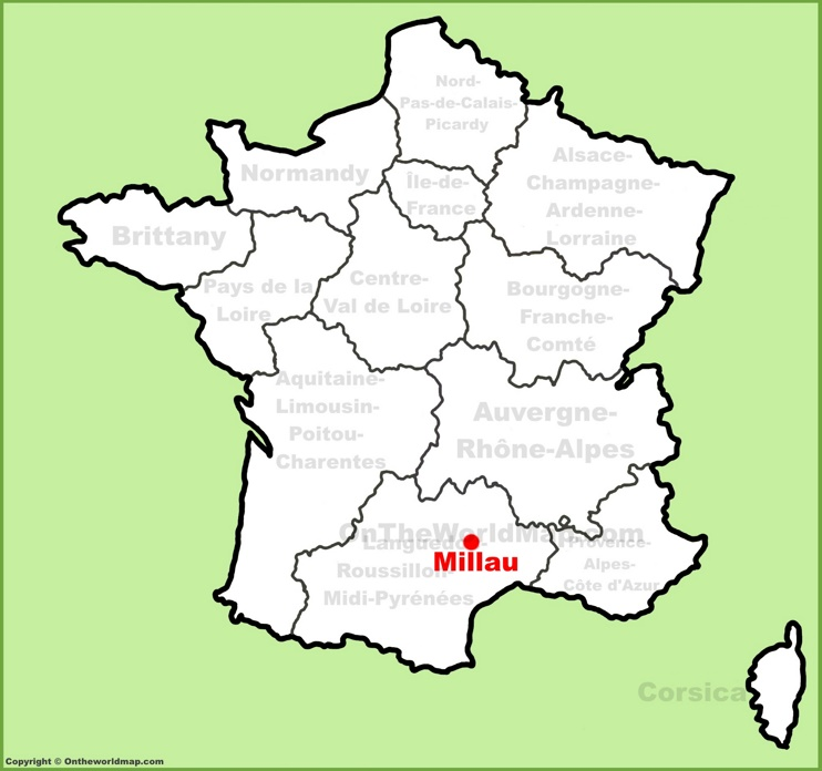 Millau location on the France map