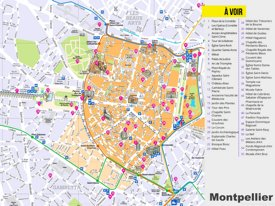 Montpellier tourist attractions map