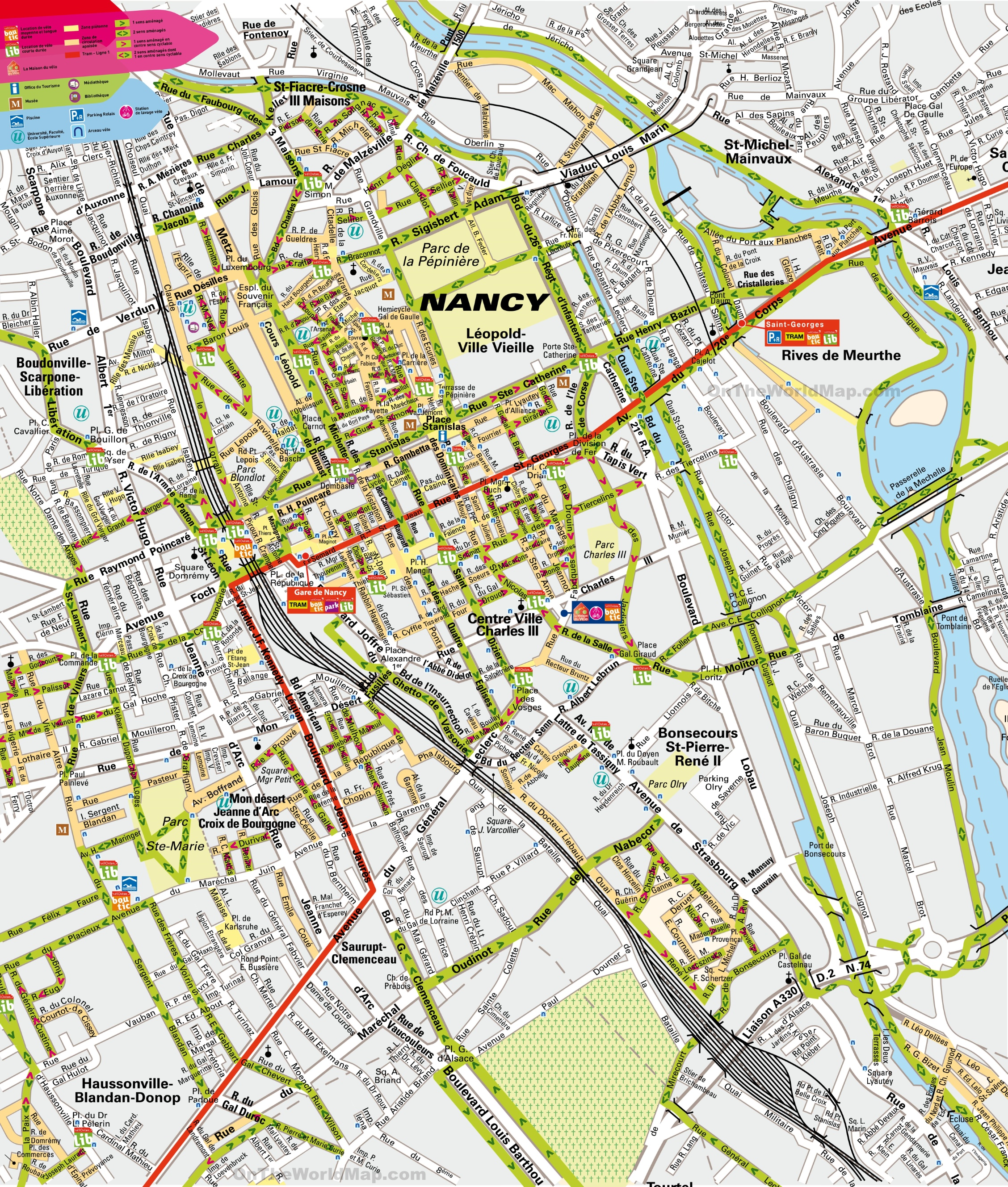 Nancy city center map