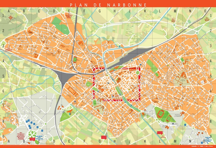 Large detailed tourist map of Narbonne