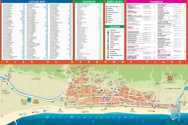Narbonne beach map