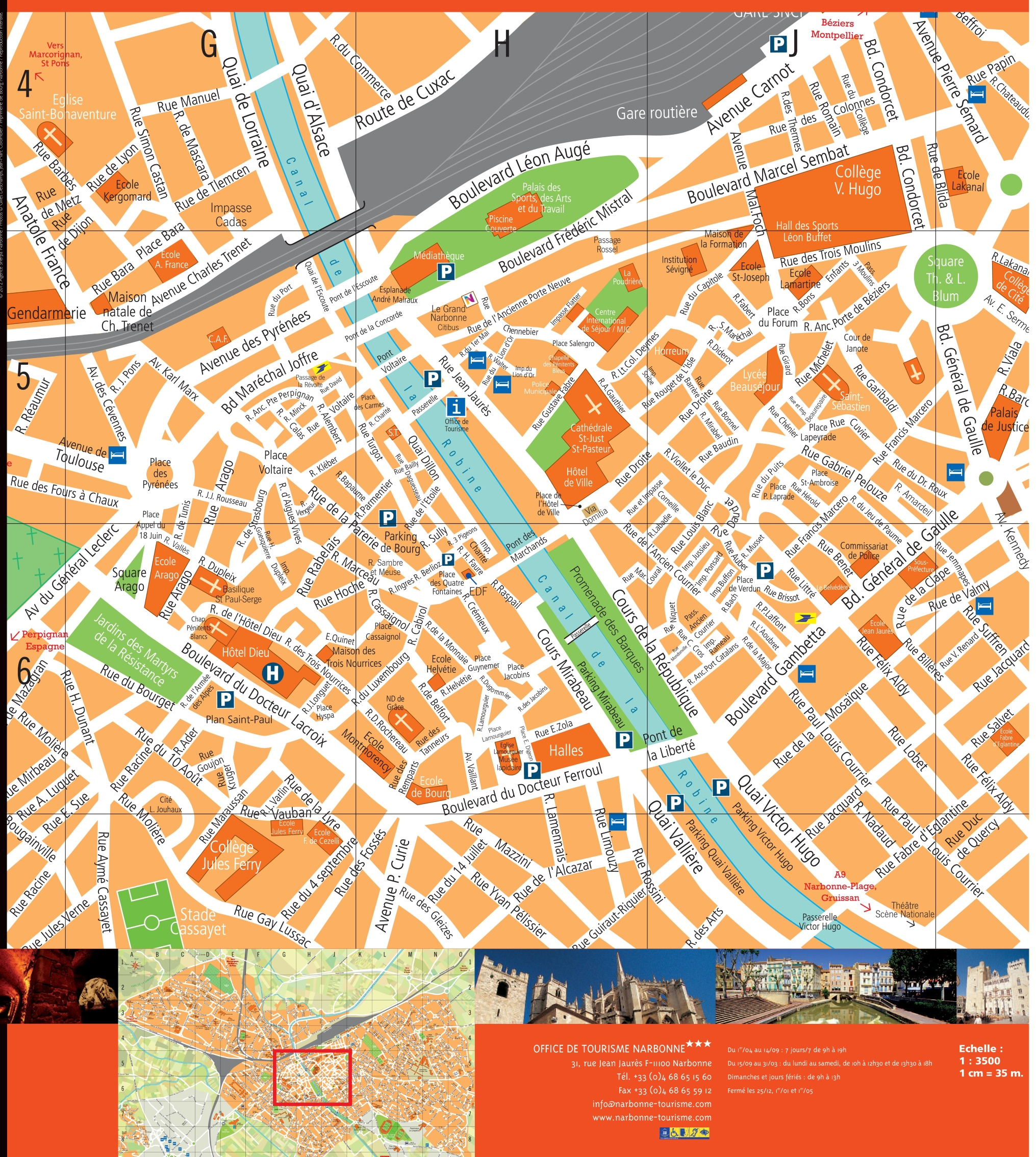 Narbonne city center map