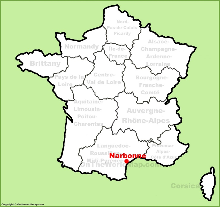 Narbonne location on the France map