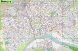 Large detailed map of Nevers