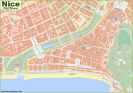 Detailed map of Nice Old Town