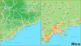 Map of surroundings of Nice