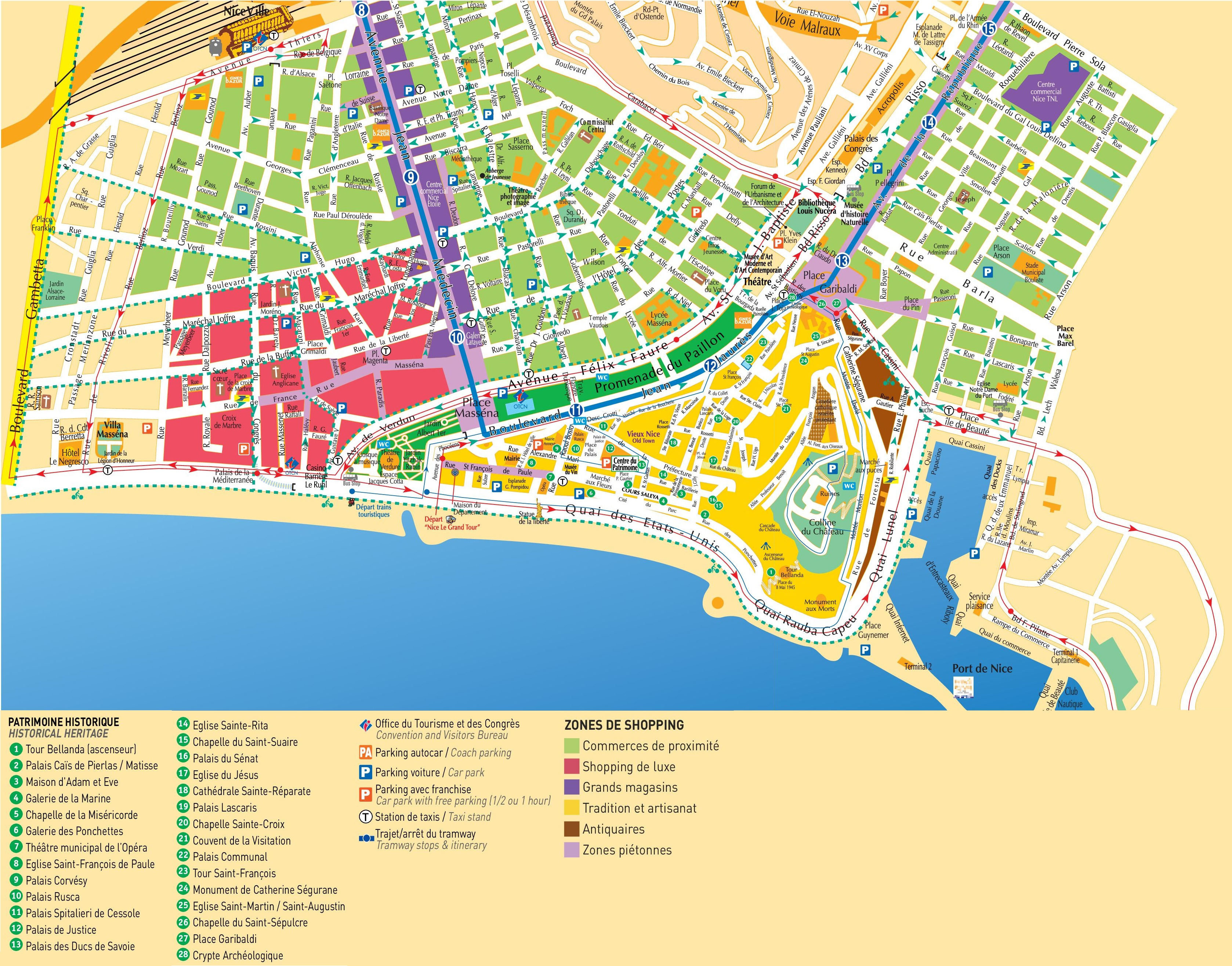 Nice Shopping And Tourist Attractions Map