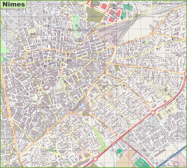 Large detailed map of Nîmes
