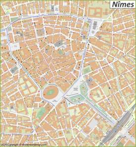 Nîmes City Center Map