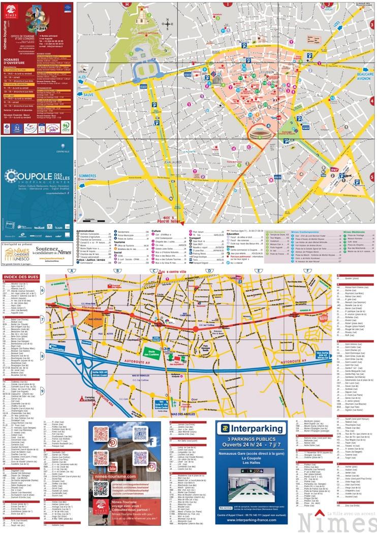 Nîmes sightseeing map