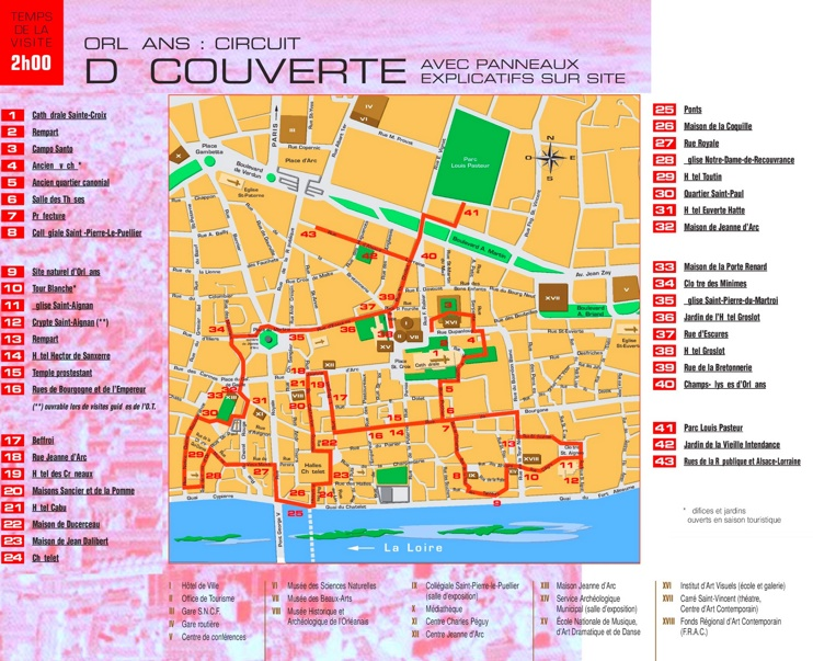 Orléans city center map