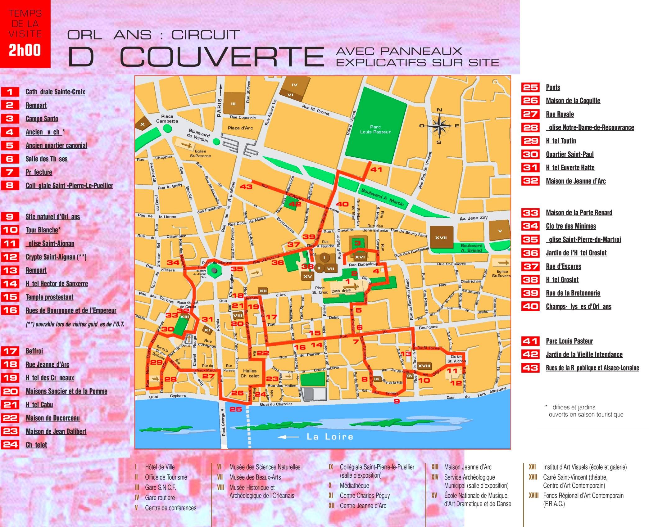 Orlans city center map