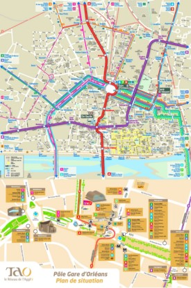 Orléans city center transport map