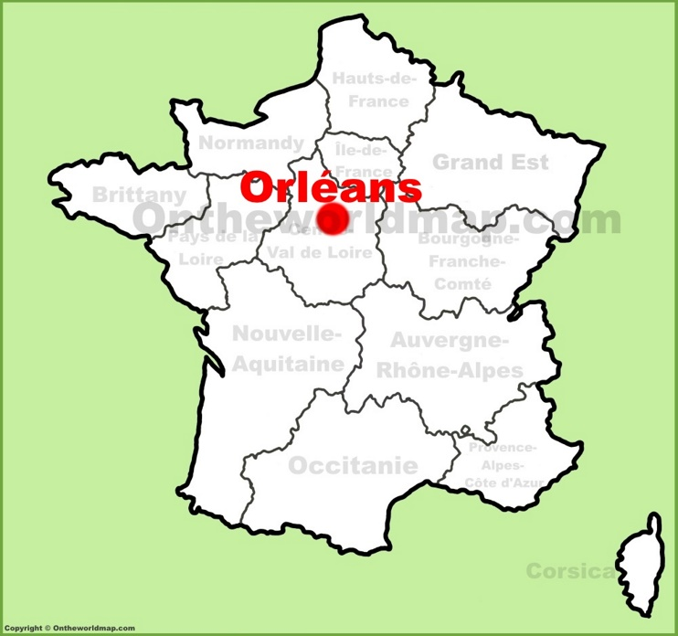 Orléans location on the France map