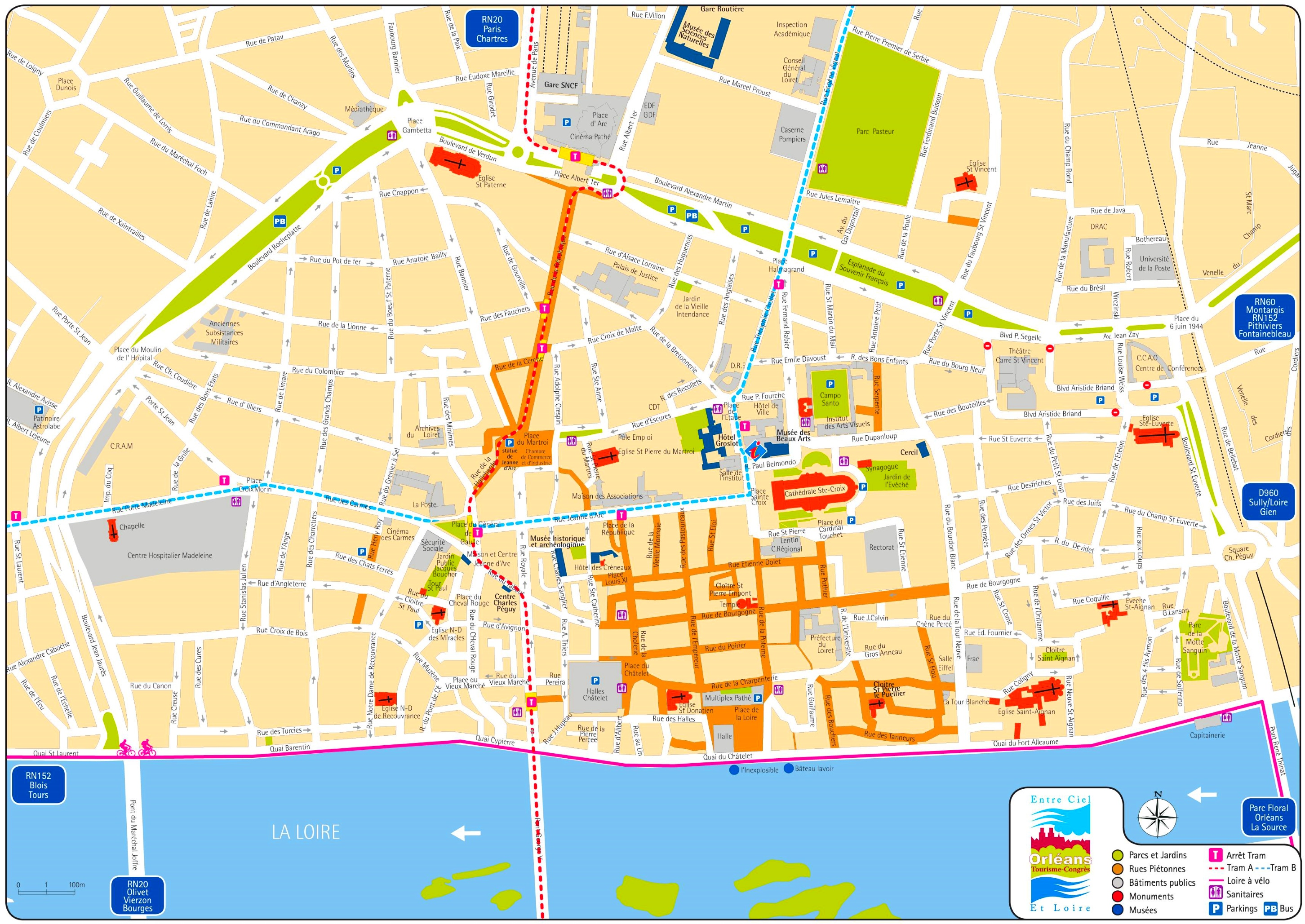 Map Of France For Tourists.Orleans Tourist Map