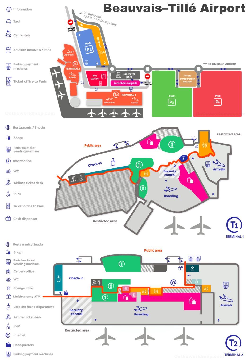 Paris-Beauvais Airport Map