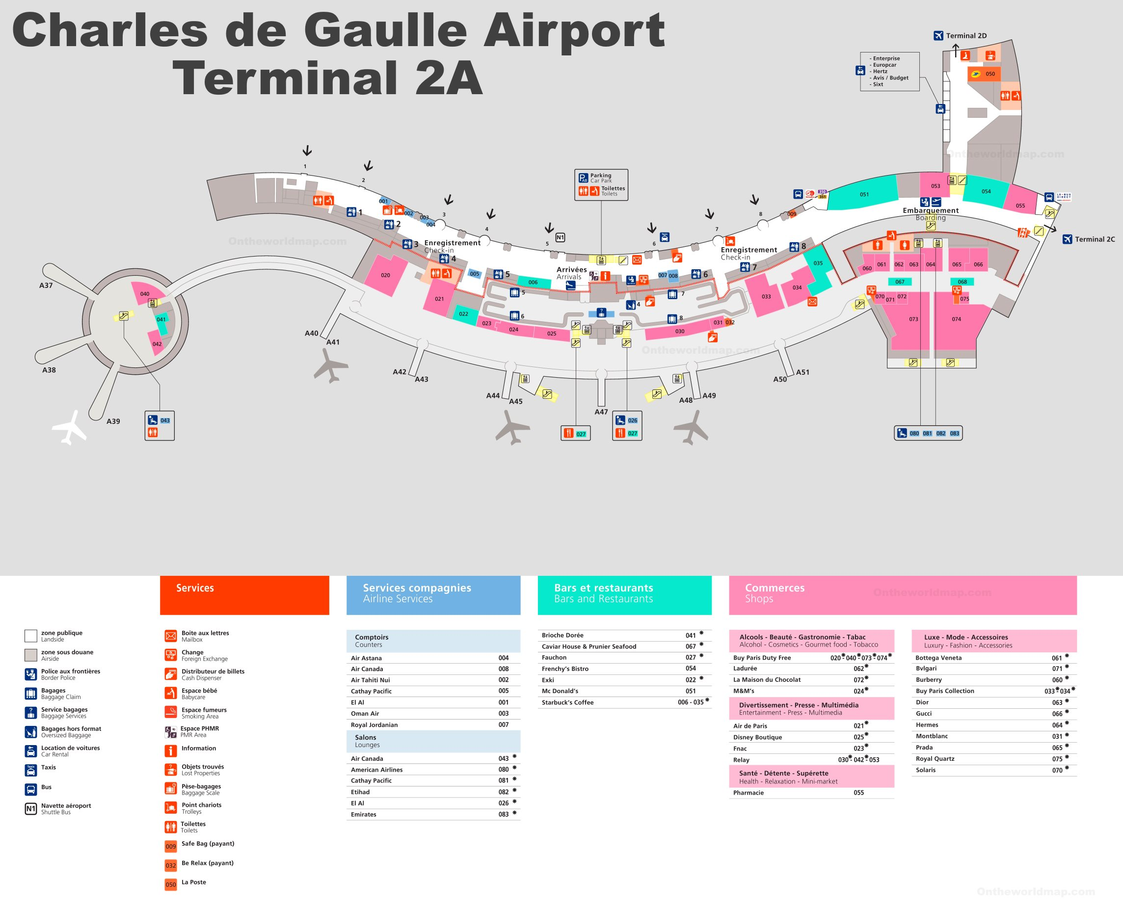Charles de Gaulle Airport Terminal 2A Map on