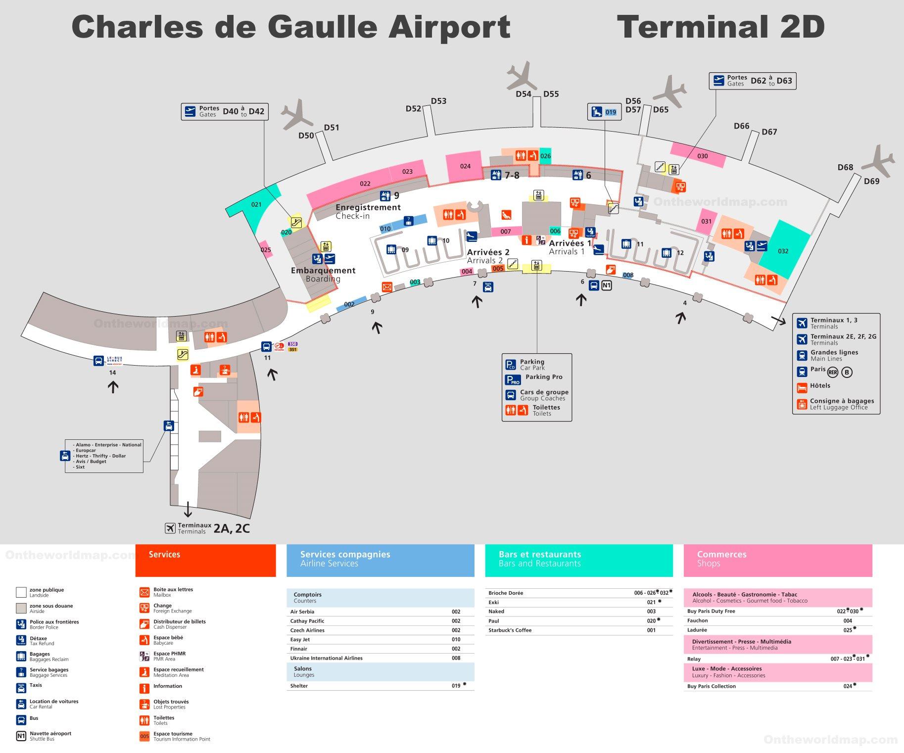 cdg terminal 2d map Charles De Gaulle Airport Terminal 2d Map cdg terminal 2d map