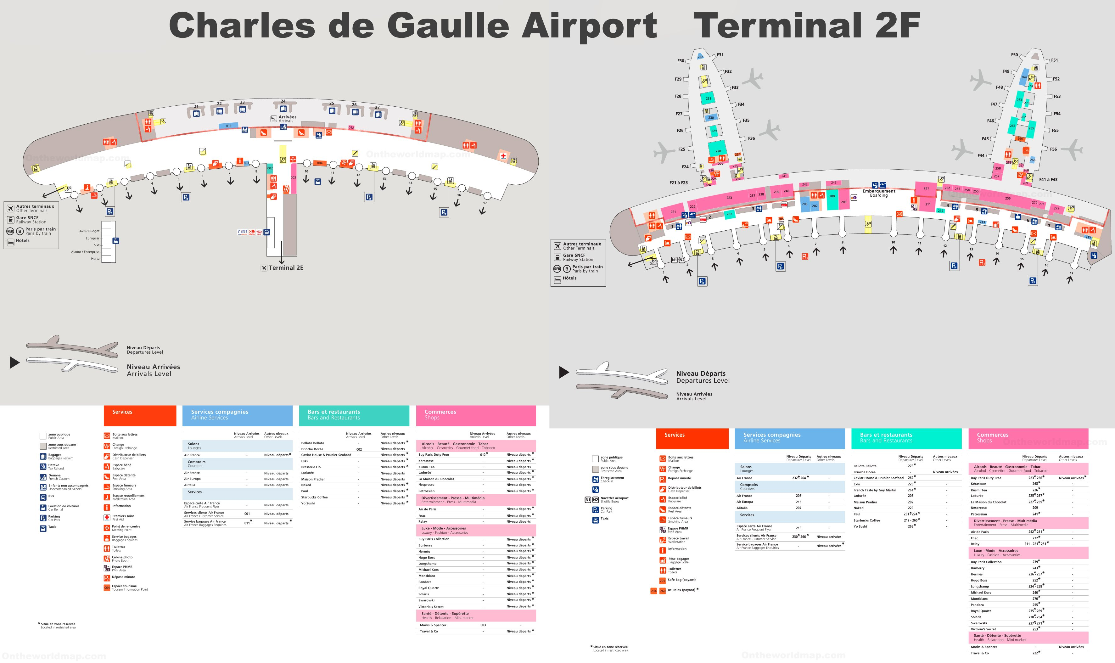 Charles de Gaulle Airport Terminal 2F Map on