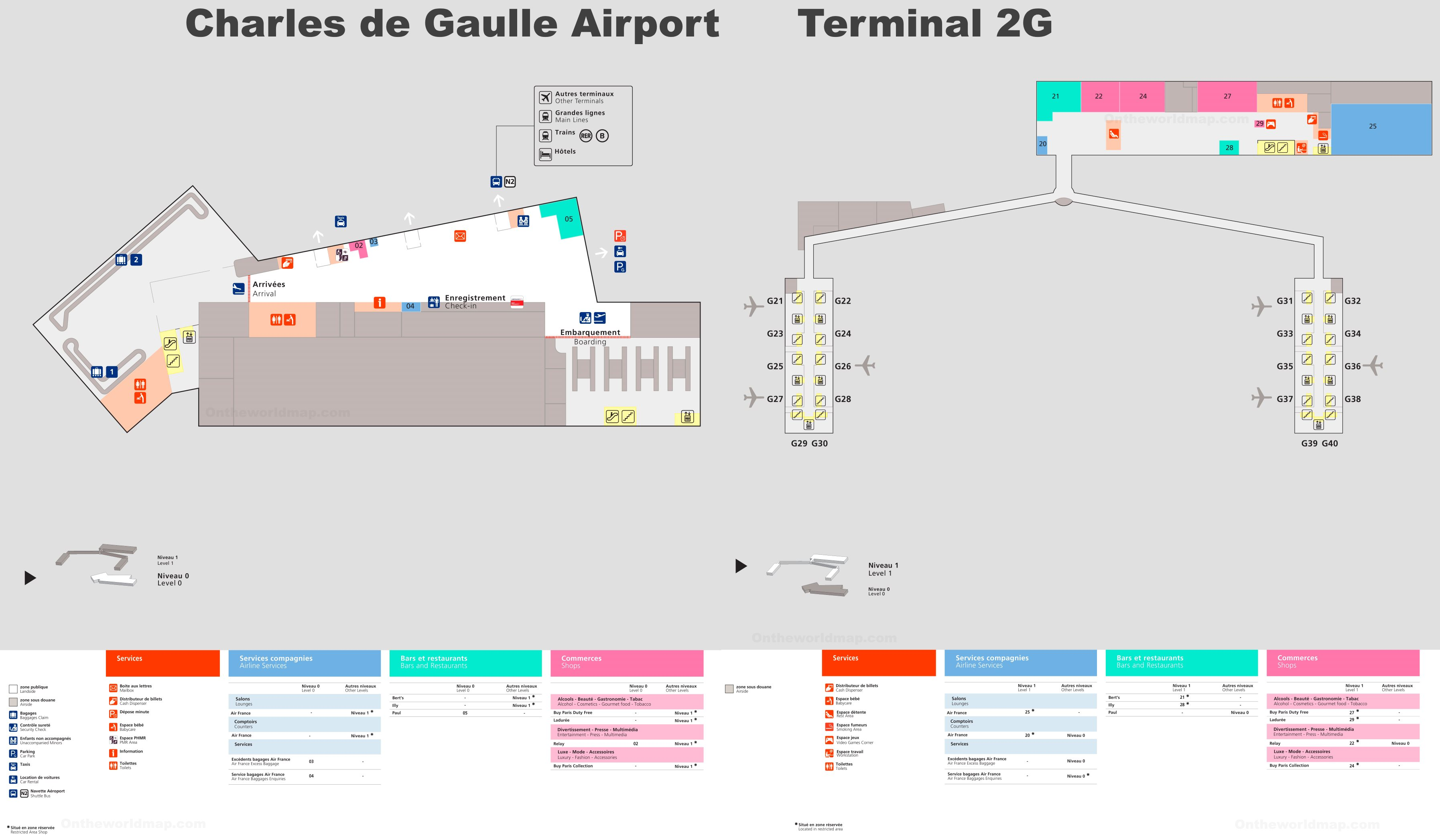 Charles de Gaulle Airport Terminal 2G Map on