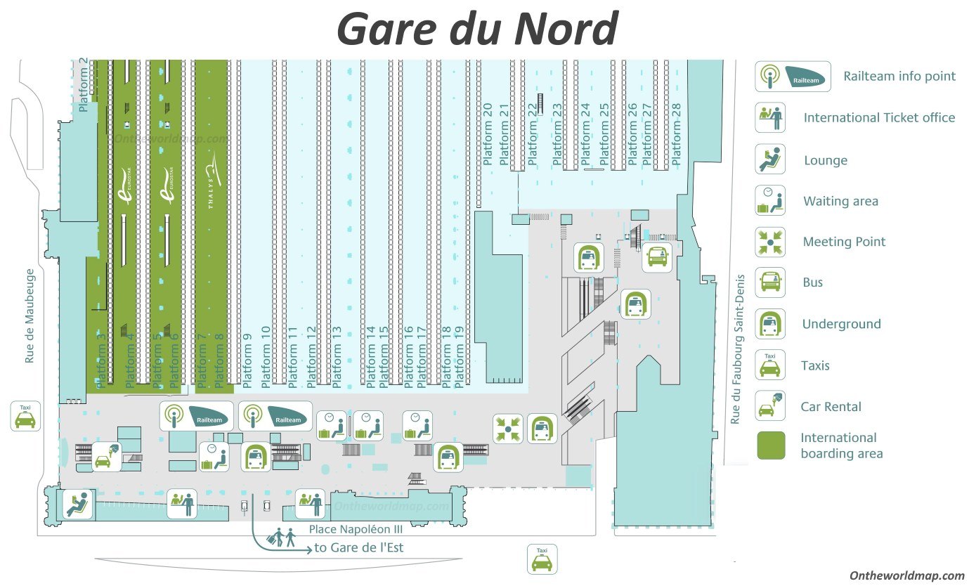 Gard Du Nord Paris Map.Gare Du Nord Map