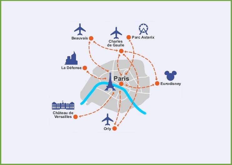 Paris Airports Map Paris airports map